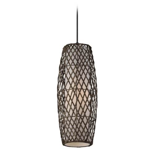 Lite Source Lighting Modern Mini-Pendant Light with Beige / Cream Rattan Shade LS-19213