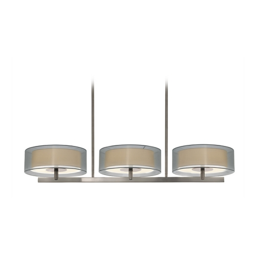 Sonneman Lighting Modern Drum Island Light with Silver Shades in Satin Nickel Finish 6001.13
