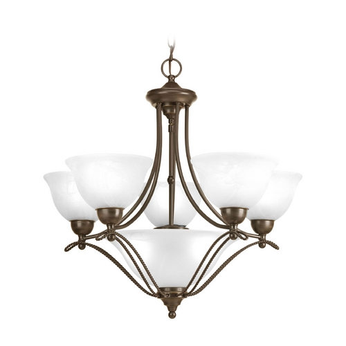 Progress Lighting Chandelier with Alabaster Glass in Antique Bronze Finish P4069-20