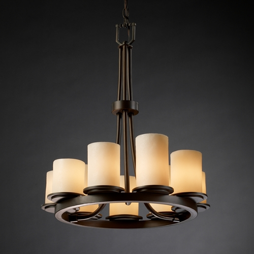 Justice Design Group Justice Design Candlearia 9-Light Chandelier in Dark Bronze CNDL-8766-10-CREM-DBRZ