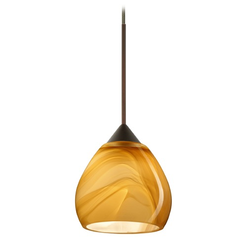 Besa Lighting Besa Lighting Tay Bronze Mini-Pendant Light with Bell Shade 1XT-5605HN-BR