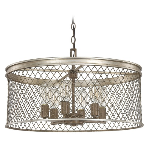 Capital Lighting Capital Lighting Eastman Silver and Bronze Pendant Light with Drum Shade 4886SZ