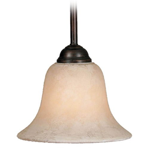 Golden Lighting Golden Lighting Rubbed Bronze Mini-Pendant Light with Bell Shade 4230 RBZ-TEA