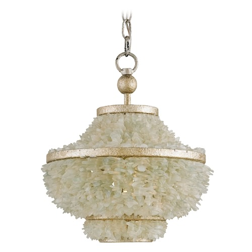 Currey and Company Lighting Currey and Company Shoreline Harlow Silver Leaf / Seaglass Pendant Light 9223