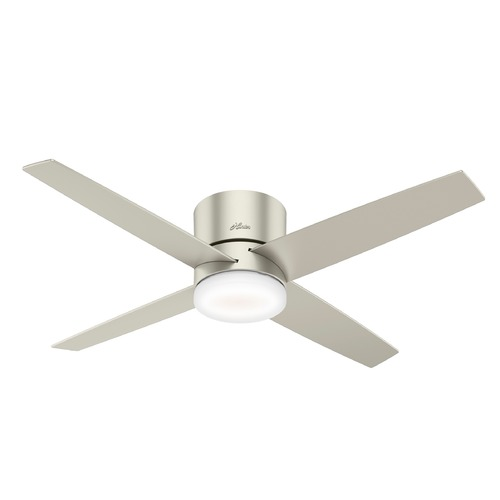 Hunter Fan Company Hunter 54-Inch Matte Nickel LED Ceiling Fan with Light with Hand-Held Remote 59373