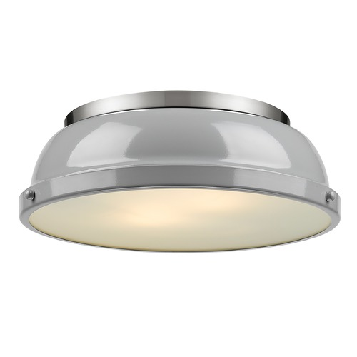 Golden Lighting Golden Lighting Duncan Grey Flushmount Light with Pewter Accent 3602-14PW-GY