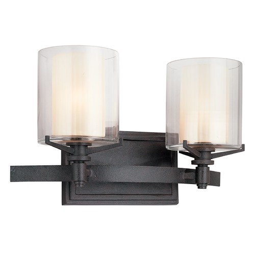 Troy Lighting Bathroom Light with Clear Glass in French Iron Finish B1712FR