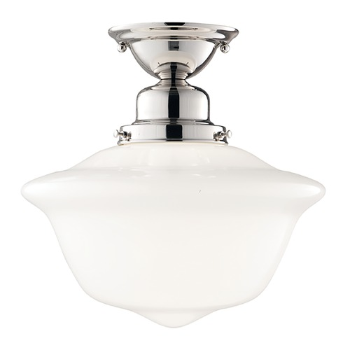 Hudson Valley Lighting Semi-Flushmount Light with White Glass in Polished Nickel Finish 1612F-PN