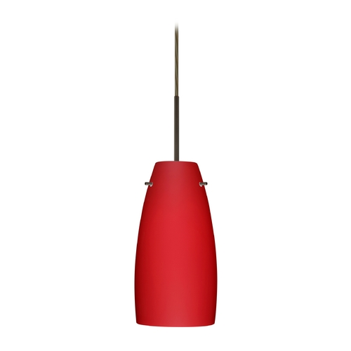 Besa Lighting Modern Pendant Light with Red Glass in Bronze Finish 1JT-1512RM-BR
