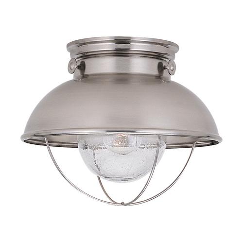 Sea Gull Lighting Close To Ceiling Light with Clear Glass in Brushed Stainless Finish 8869-98