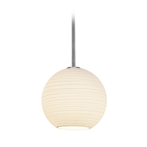 Access Lighting Modern Pendant Light with White Glass in Brushed Steel Finish 28088-1R-BS/WHTLN
