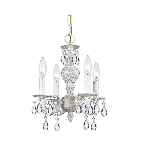 Crystorama Lighting Crystal Mini-Chandelier in Antique White Finish 5024-AW-CL-SAQ