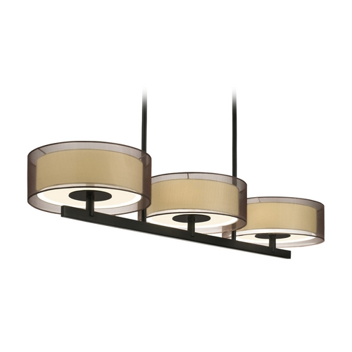 Sonneman Lighting Modern Drum Island Light with Brown Shades in Black Brass Finish 6001.51