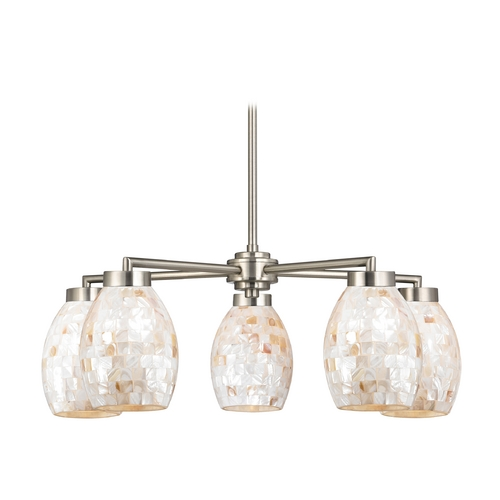 Design Classics Lighting Chandelier with Mosaic Glass in Satin Nickel Finish 590-09 GL1034
