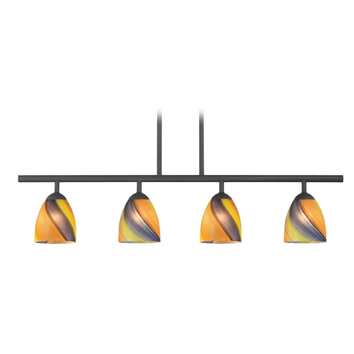Design Classics Lighting Modern Island Light with Multi-Color Glass in Matte Black Finish 718-07 GL1015MB