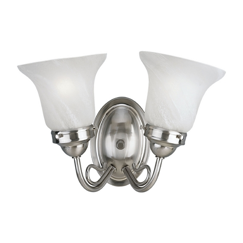 Progress Lighting Progress Bathroom Light with Alabaster Glass in Brushed Nickel Finish P3368-09
