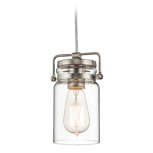 Kichler Lighting Kichler Lighting Brinley Brushed Nickel Mini-Pendant Light with Cylindrical Shade 42878NI