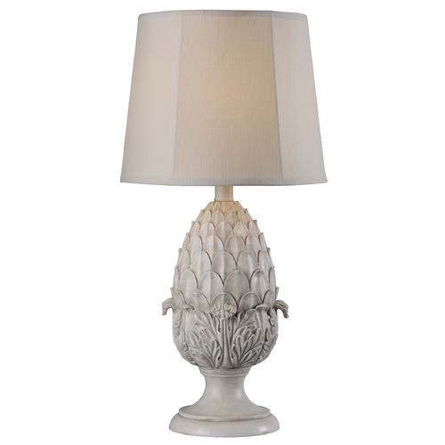 Kenroy Home Lighting Kenroy Home Lighting Artichoke Roman White Table Lamp with Hexagon Shade 32487RW