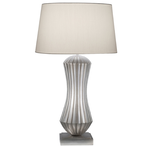 Fine Art Lamps Fine Art Lamps Recollections Platinized Silver Leaf Table Lamp with Drum Shade 847410ST