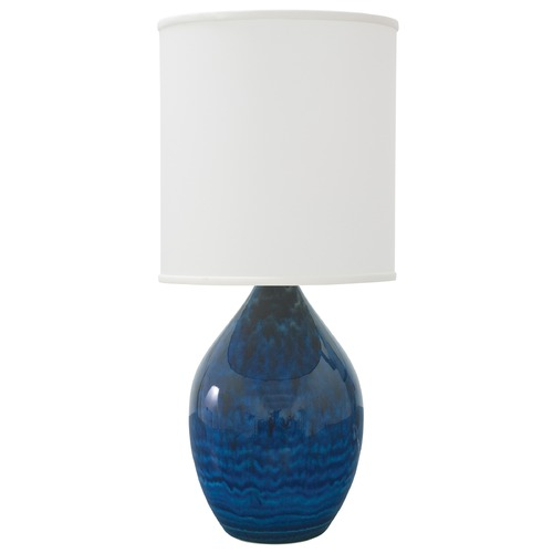 House of Troy Lighting House Of Troy Scatchard Midnight Blue Table Lamp with Cylindrical Shade GS301-MID