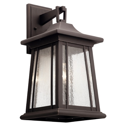 Kichler Lighting Taden Large Rubbed Bronze Outdoor Wall Light with Clear Seeded Glass 49910RZ