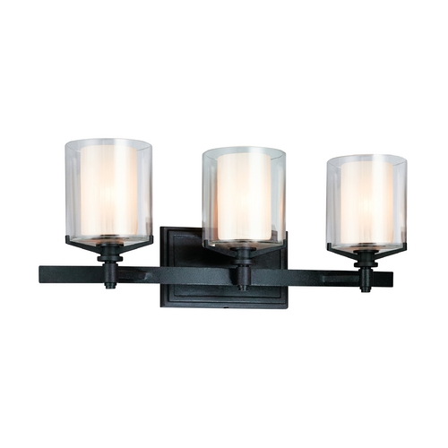 Troy Lighting Bathroom Light with Clear Glass in French Iron Finish B1713FR