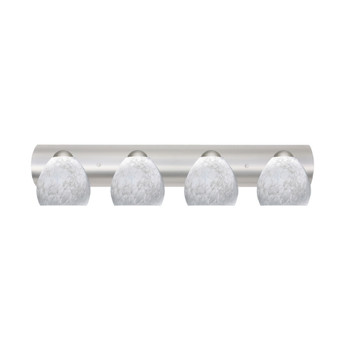 Besa Lighting Bathroom Light with White Glass in Satin Nickel Finish 4WZ-412219-SN