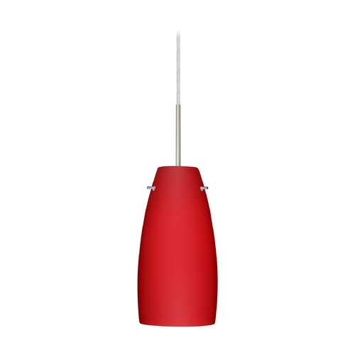 Besa Lighting Modern Pendant Light with Red Glass in Satin Nickel Finish 1JT-1512RM-SN