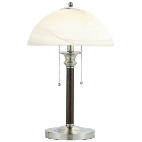Adesso Home Lighting Modern Table Lamp with White Glass in Walnut Finish 4050-15
