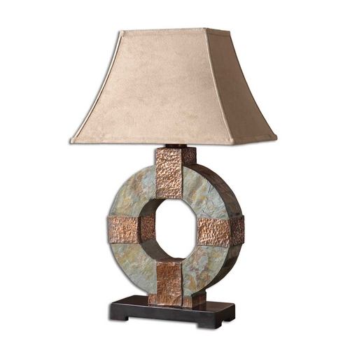 Uttermost Lighting Table Lamp in Handcarved Slate / Hammered Copper Finish 26307