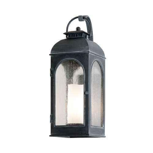 Troy Lighting Outdoor Wall Light with Clear Glass in Antique Iron Finish B3282