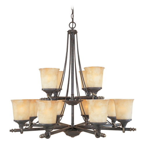 Designers Fountain Lighting Chandelier with Beige / Cream Glass in Weathered Saddle Finish 973812-WSD