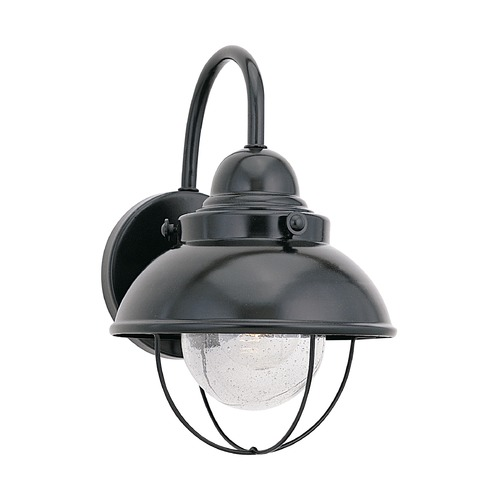 Sea Gull Lighting Outdoor Wall Light with Clear Glass in Black Finish 8870-12