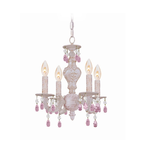 Crystorama Lighting Crystal Mini-Chandelier in Antique White Finish 5024-AW-RO-MWP