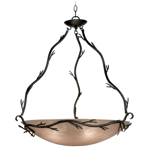 Kenroy Home Lighting Pendant Light with Amber Glass in Bronze Finish 90904BRZ