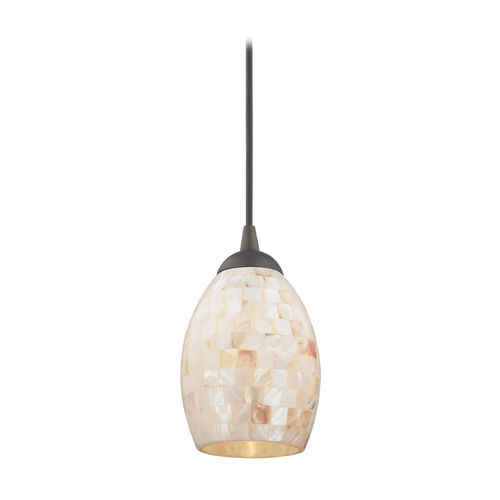 Design Classics Lighting Mosaic Mini-Pendant Light with Oblong Glass Shade in Bronze Finish 582-220 GL1034