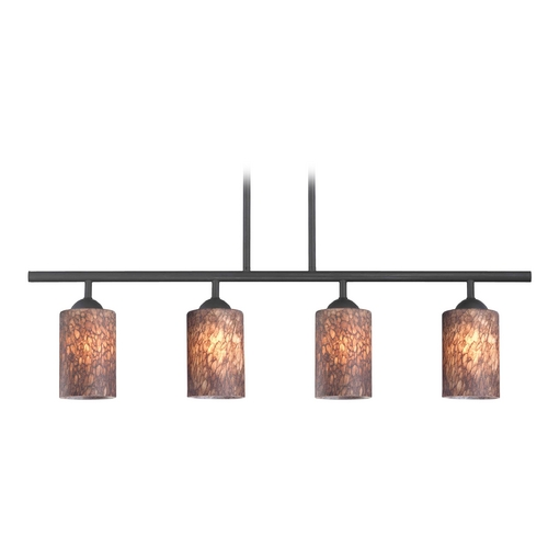 Design Classics Lighting Modern Black Linear Pendant Light with Brown Art Glass 4 Lt 718-07 GL1016C