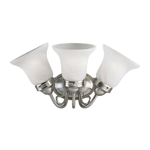 Progress Lighting Progress Bathroom Light with Alabaster Glass in Brushed Nickel Finish P3369-09