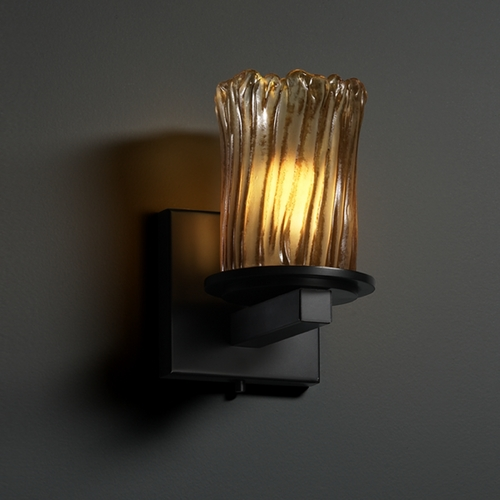 Justice Design Group Justice Design Group Veneto Luce Collection Matte Black Sconce GLA-8771-16-AMBR-MBLK