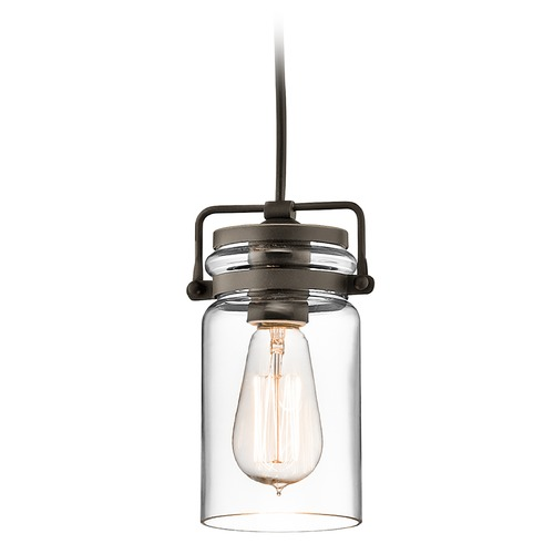 Kichler Lighting Kichler Lighting Brinley Olde Bronze Mini-Pendant Light with Cylindrical Shade 42878OZ