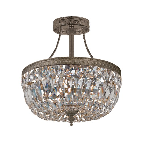 Crystorama Lighting Crystorama Lighting Ceiling Mount English Bronze Semi-Flushmount Light 119-10-EB-CL-SAQ