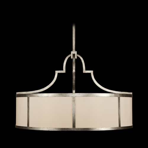 Fine Art Lamps Fine Art Lamps Portobello Road Platinized Silver Pendant Light with Drum Shade 610440ST