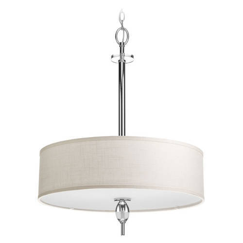 Progress Lighting Progress Lighting Status Polished Chrome Pendant Light with Drum Shade P3680-15