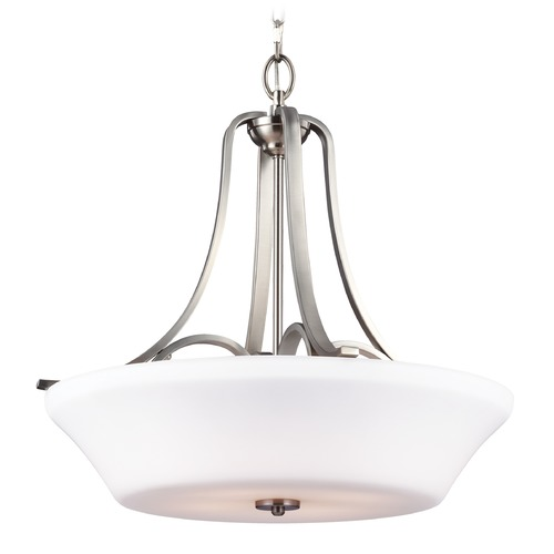 Feiss Lighting Feiss Lighting Hamlet Satin Nickel Pendant Light with Bowl / Dome Shade F3067/4SN