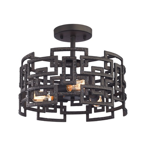Elk Lighting Elk Lighting Garriston Clay Iron Semi-Flushmount Light 14331/3