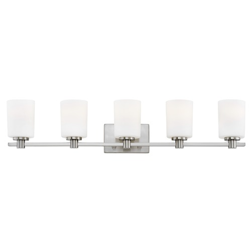 Hinkley Hinkley Karlie 5-Light Brushed Nickel Bathroom Light with Etched Opal Glass 54625BN