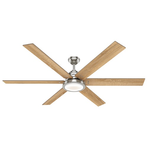 Hunter 70-Inch Brushed Nickel LED Ceiling Fan With Light