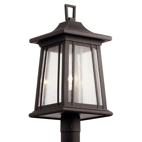 Kichler Lighting Taden Rubbed Bronze Post Light with Clear Seeded Glass 49911RZ