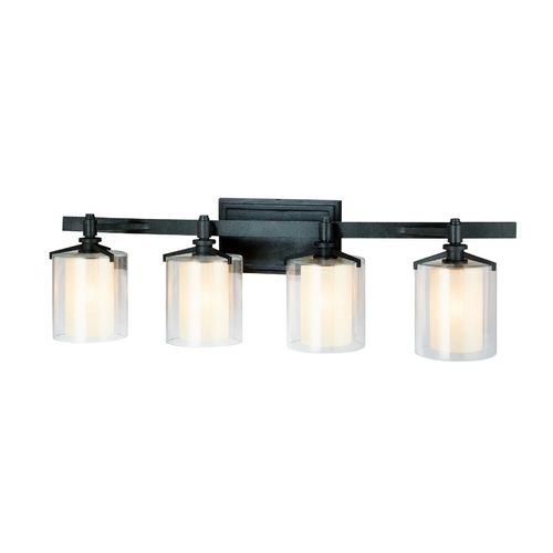 Troy Lighting Bathroom Light with Clear Glass in French Iron Finish B1714FR