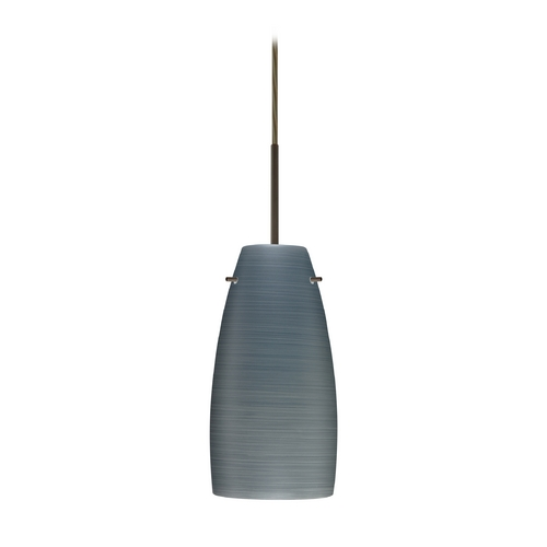 Besa Lighting Modern Pendant Light with Grey Glass in Bronze Finish 1JT-1512TN-BR